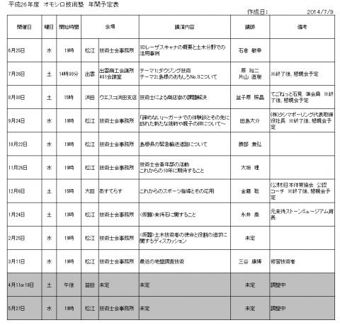 20140709オモシロ技術塾年間予定表